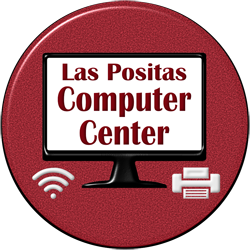 Las Positas Computer Center on screen of PC with icons for Wifi and Printer