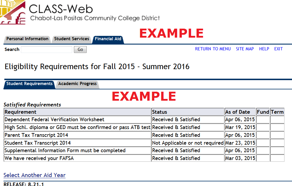 List of forms under Student Requirements.