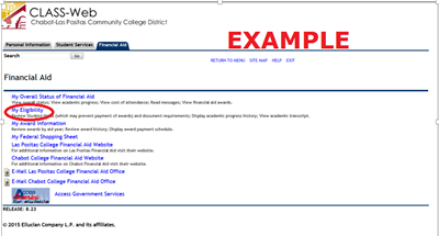My Eligibility link in Class-Web