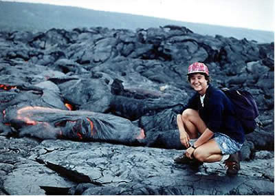 Ruth Hanna with lava