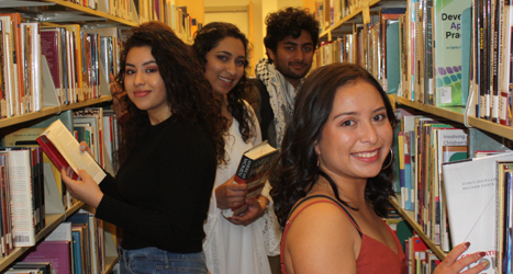 Las Positas College students in the library.