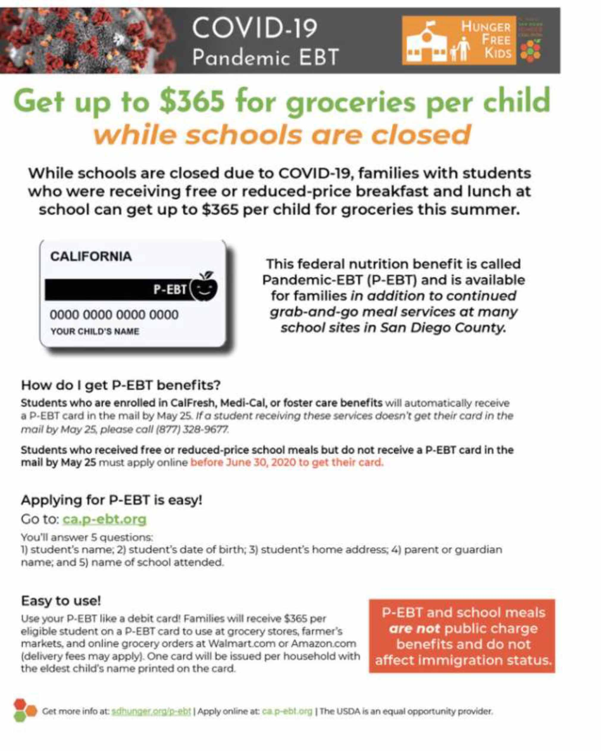 COVID-19 Pandemic EBT- Hunger Free Kids flyer