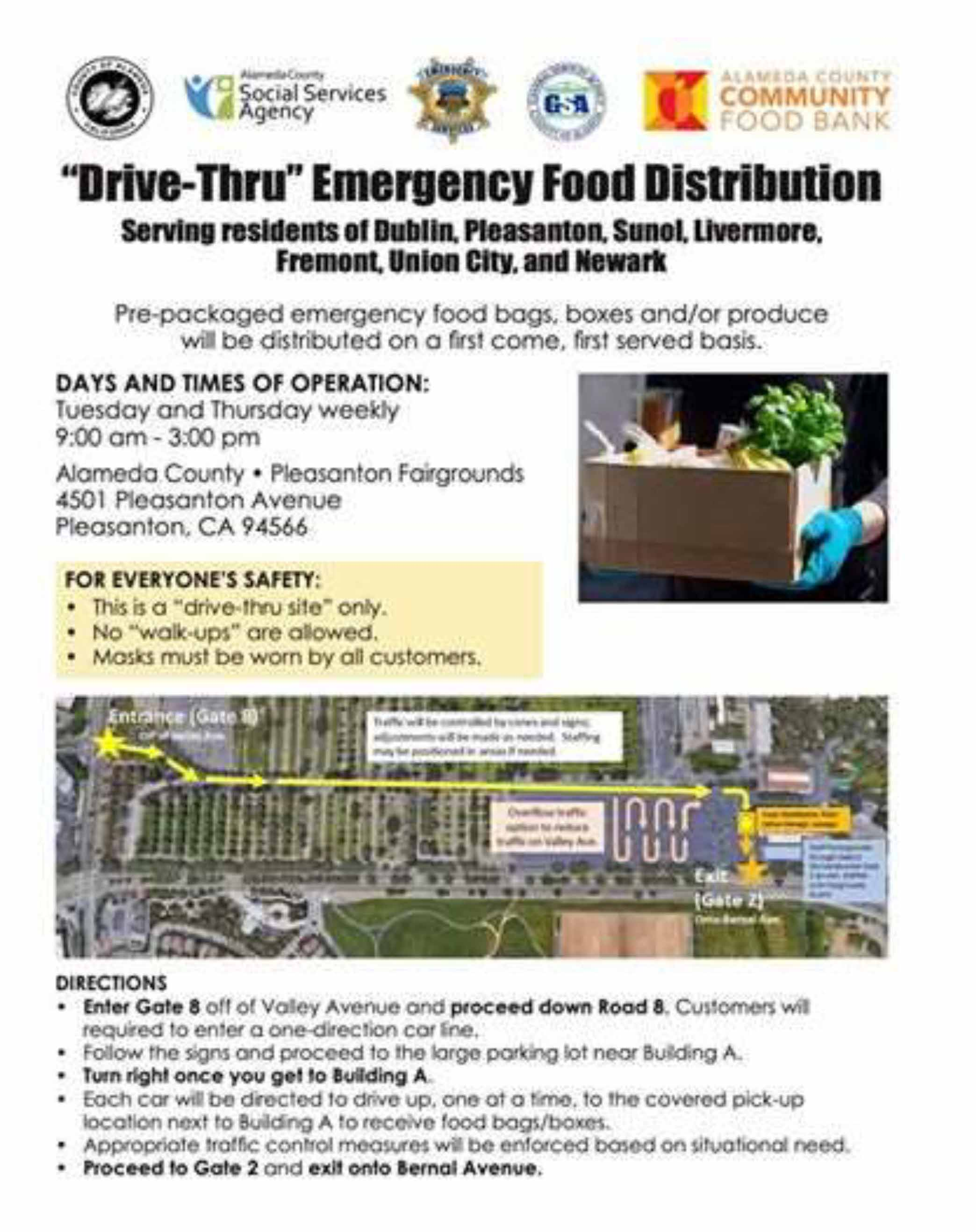 "County of Alameda and Alameda County governing agencies ""Drive-Thru"" Emergency Food Distributions flyer"